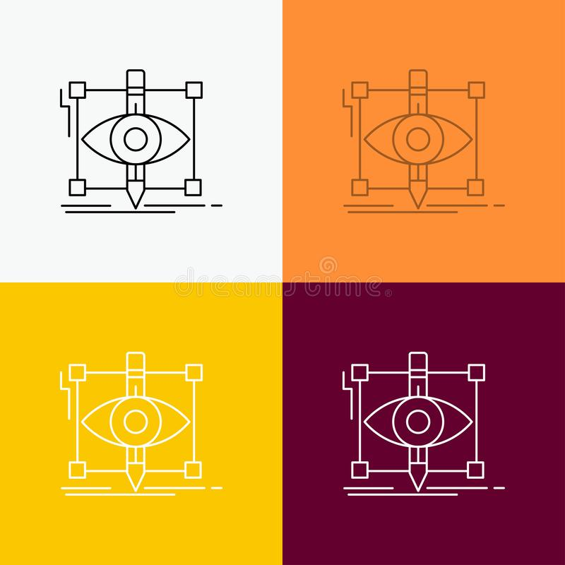 Design, draft, sketch, sketching, visual Icon Over Various Background. Line style design, designed for web and app. Eps 10 vector. Illustration. Vector EPS10 vector illustration