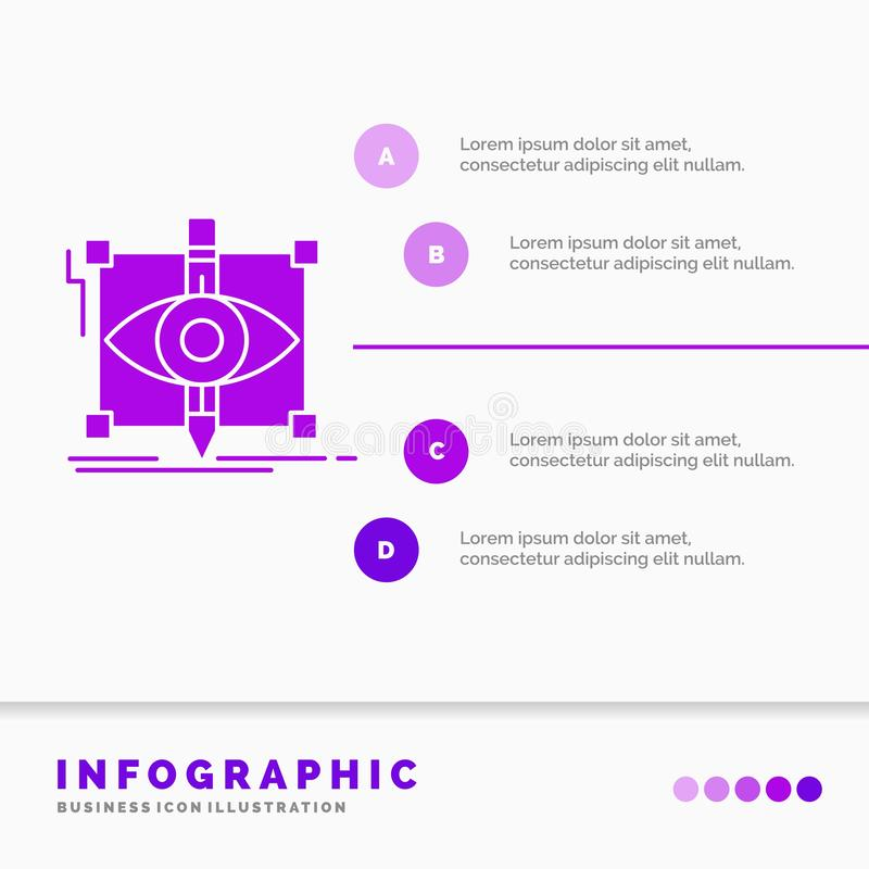 Design, draft, sketch, sketching, visual Infographics Template for Website and Presentation. GLyph Purple icon infographic style. Vector illustration.. Vector stock illustration