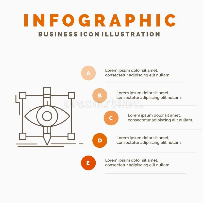 Design, draft, sketch, sketching, visual Infographics Template for Website and Presentation. Line Gray icon with Orange. Infographic style vector illustration vector illustration