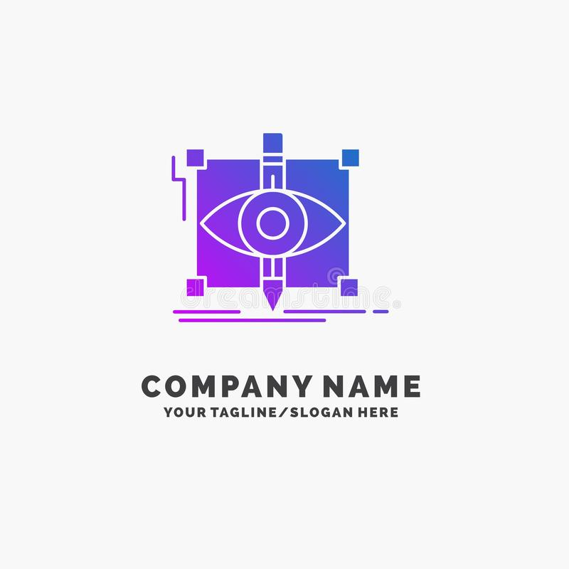 Design, draft, sketch, sketching, visual Purple Business Logo Template. Place for Tagline. Vector EPS10 Abstract Template background vector illustration