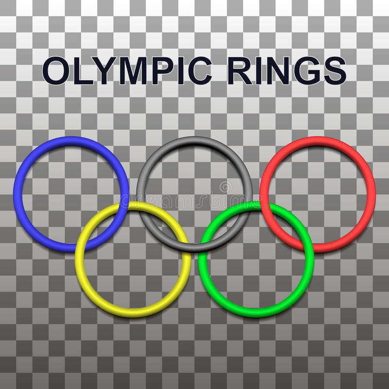 Design element 3D - the olympic rings with shadows. royalty free stock photography