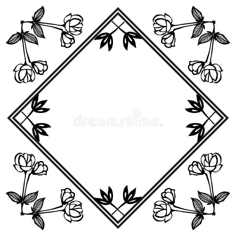 Design element floral frame, vintage style, ornate of various card. Vector royalty free illustration