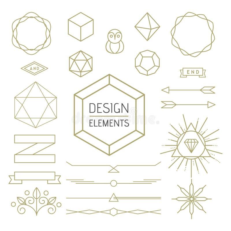 Design element set mono line art geometry symbol. Design elements set mono line outline style. Includes geometry badges, lettering symbols, signs and icons stock illustration