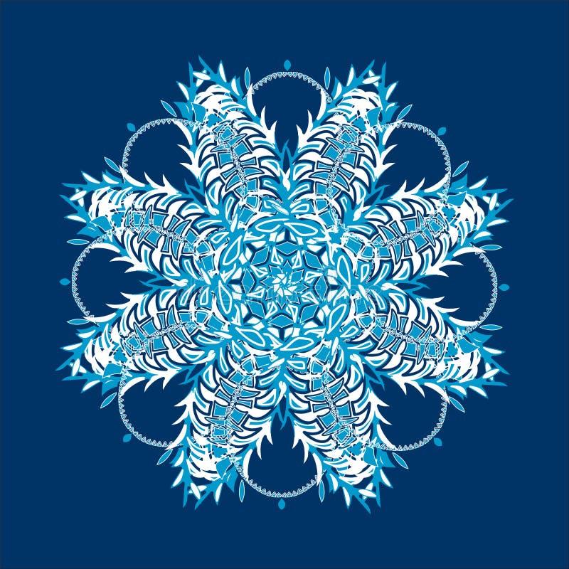 Design element. Stylized Christmas snowflake. Ornate shape. Winter design element. Stylized Christmas snowflake on blue background. Ornate shape stock illustration