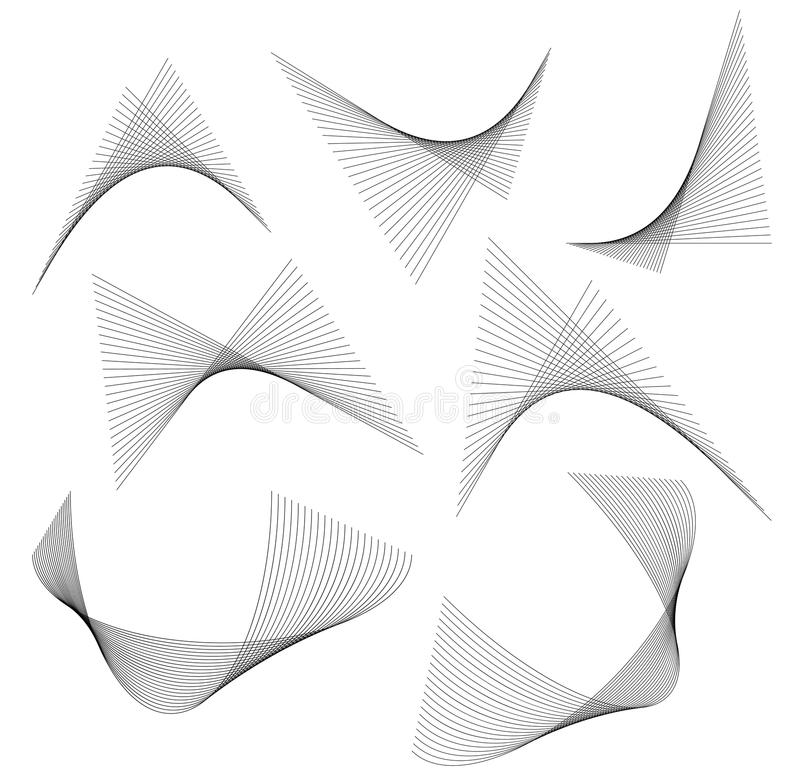 Design element wavy ribbon from many parallel lines07 royalty free illustration