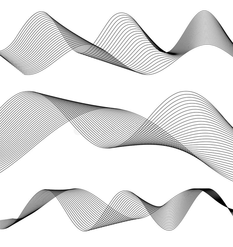 Design element wavy ribbon from many parallel lines40 vector illustration