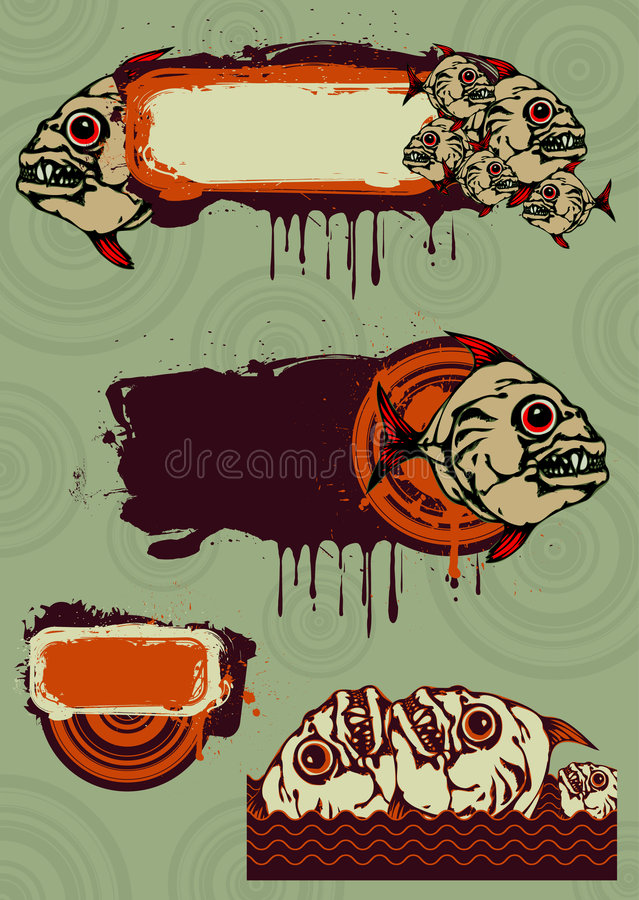 Design elements. With a place for your special text with avid predatory fishes vector illustration