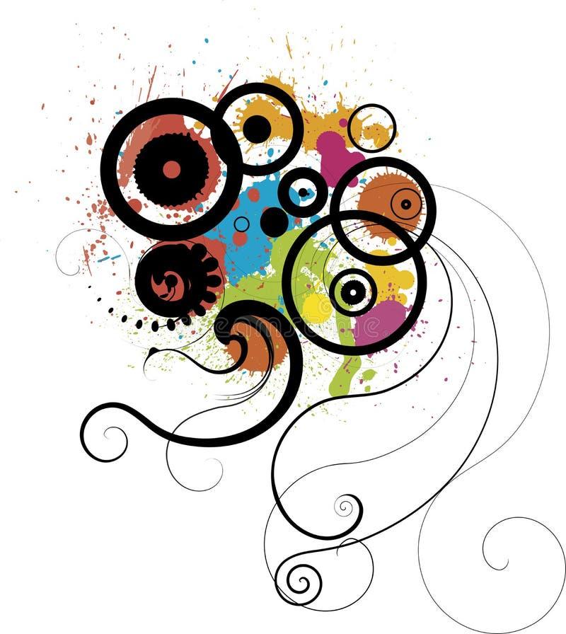 Design elements. Circles splats and floral design elements royalty free illustration
