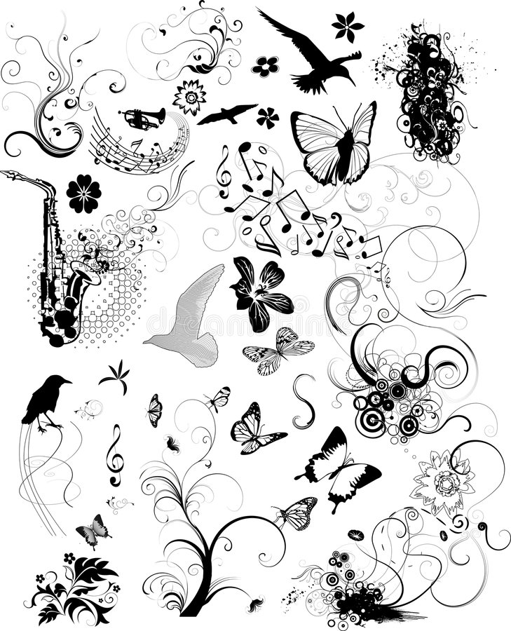 Design elements. Vector set of design elements:birds,plants,flowers,and musical notes royalty free illustration