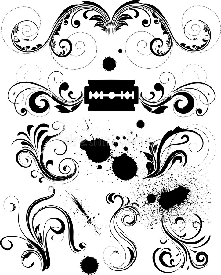 Design elements. Set of dynamic (aggressive) design elements.Good for emo themes, but can be used for any of your designs royalty free illustration