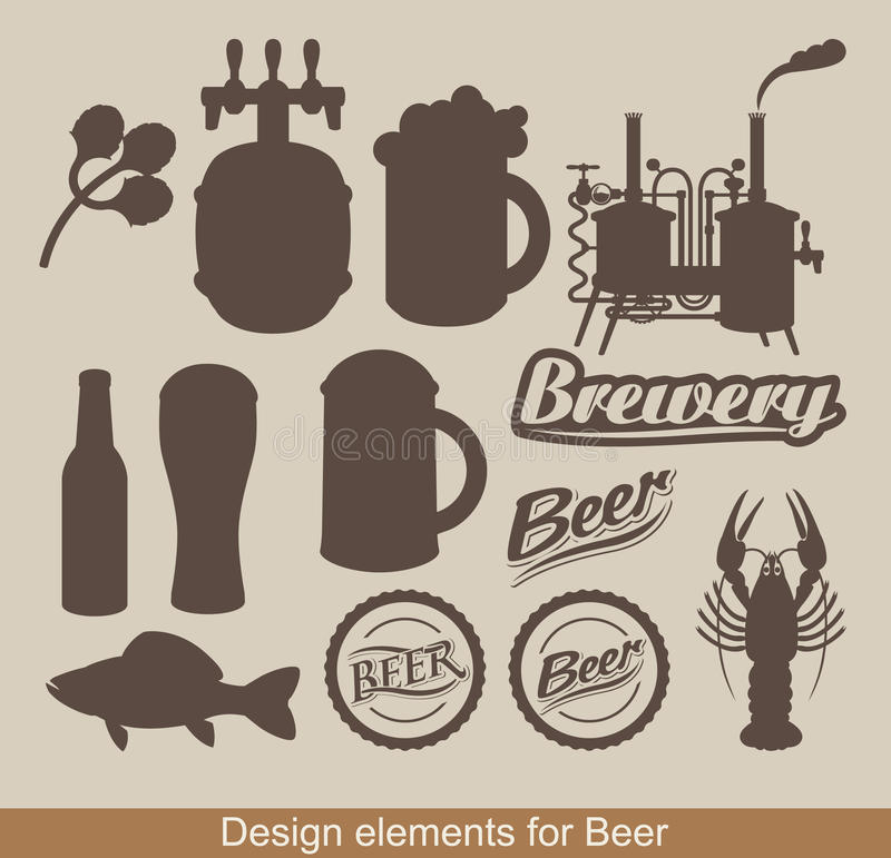 Design elements of beer. Set of design elements on the subject of beer royalty free illustration