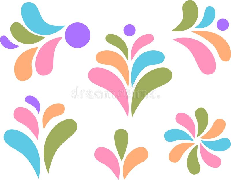 Design elements colorful drops and leaves royalty free illustration