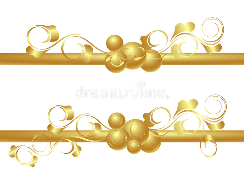 Design elements in gold vector illustration