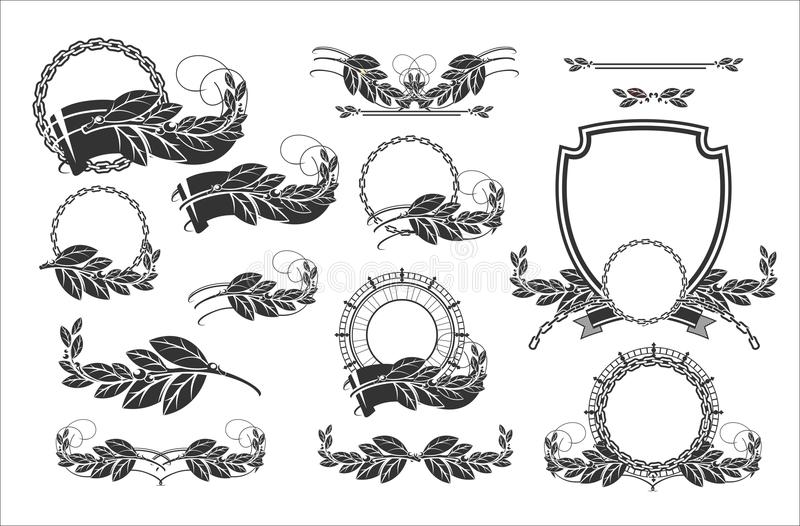 Design elements. Laurel wreaths winners, swirls, frames, coat of arms, These elements are well suited for decorating your pages, flyers, help to create cards royalty free illustration