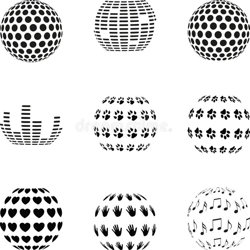 Design elements, logo collection, abstract sphere, design elements collection, different spheres vector illustration