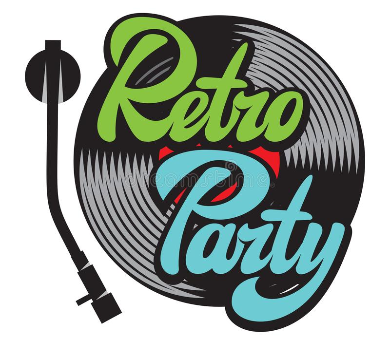 Design elements in retro style with vinyl record and stylish lettering retro party stock illustration