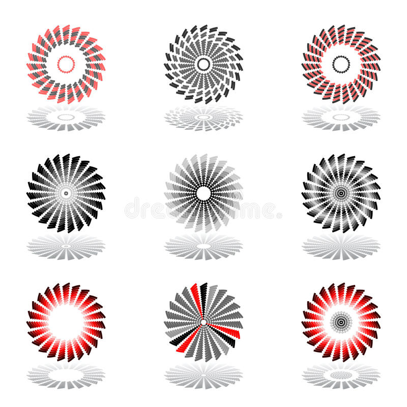 Design Elements With Rotation Movement. Set. Stock Photography