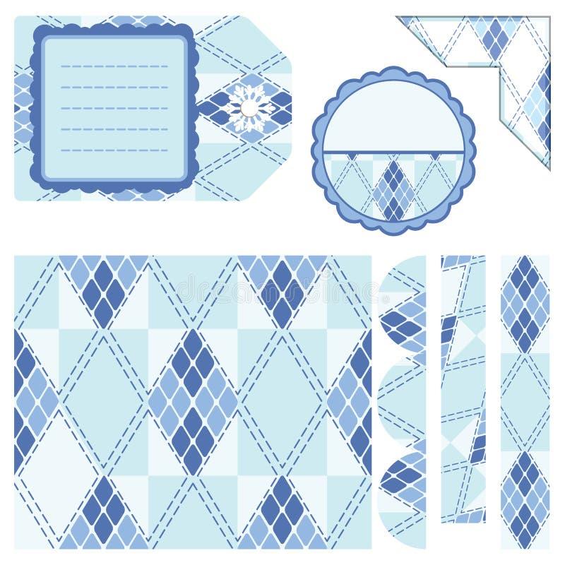 Design elements for scrapbook - blue stock image