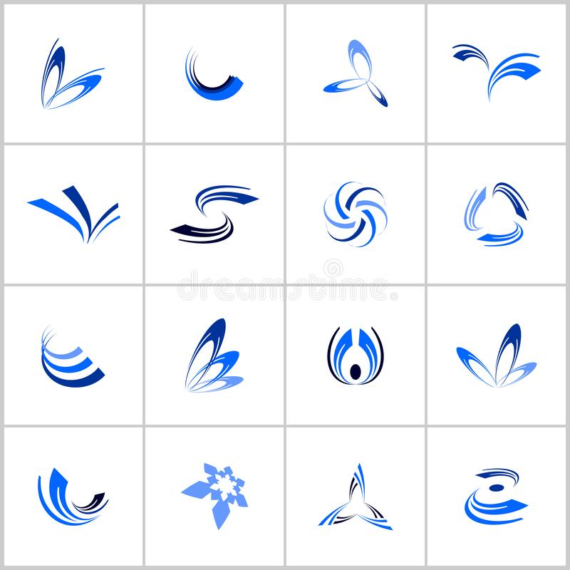 Design elements set. Abstract blue icons. Vector art stock illustration