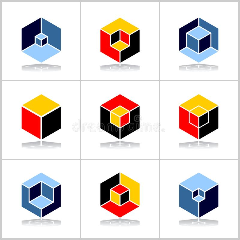 Design elements set. Abstract hexagons. Cubic shape icons. Vector art. Isometric design elements. Abstract hexagons set. Cubic shape icons. Vector art vector illustration