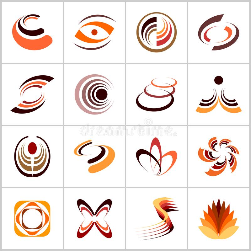Design elements set. Abstract icons in warm colors. Vector art royalty free illustration