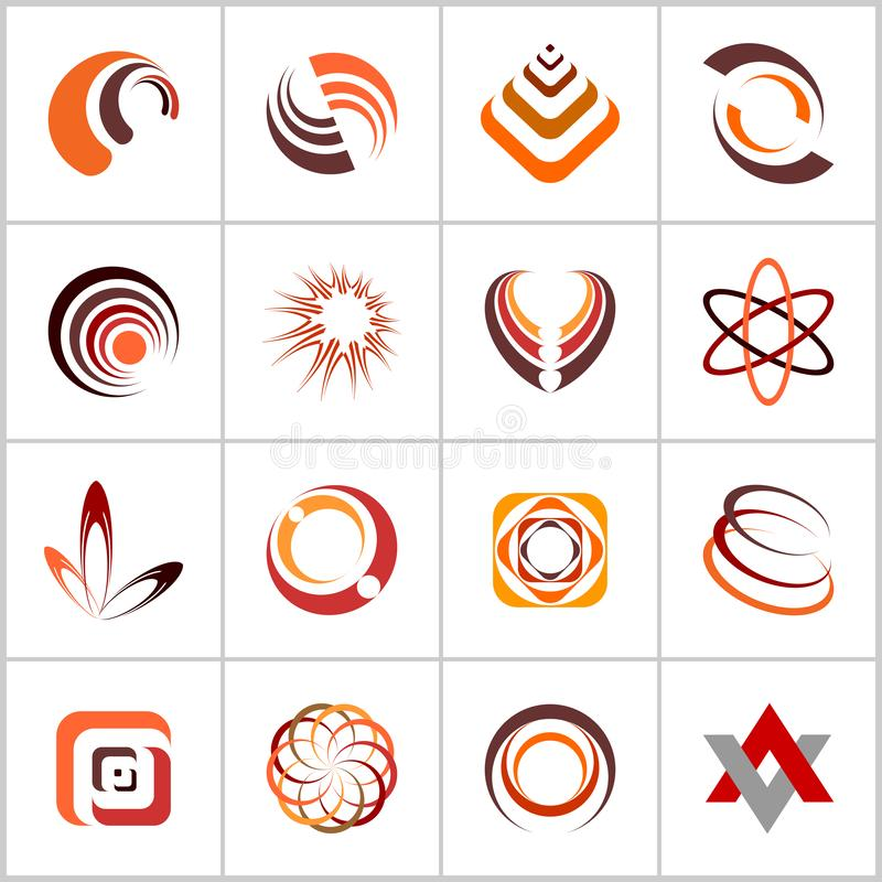 Design elements set. Abstract icons in warm colors. Vector art vector illustration