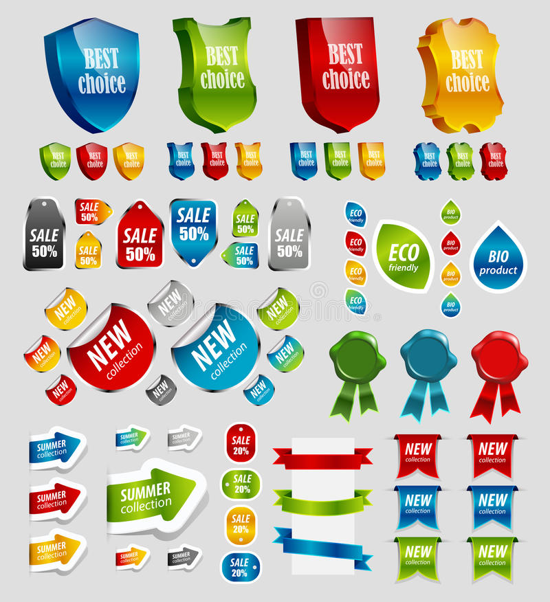 Design elements: tags, stickers, ribbons. stock illustration