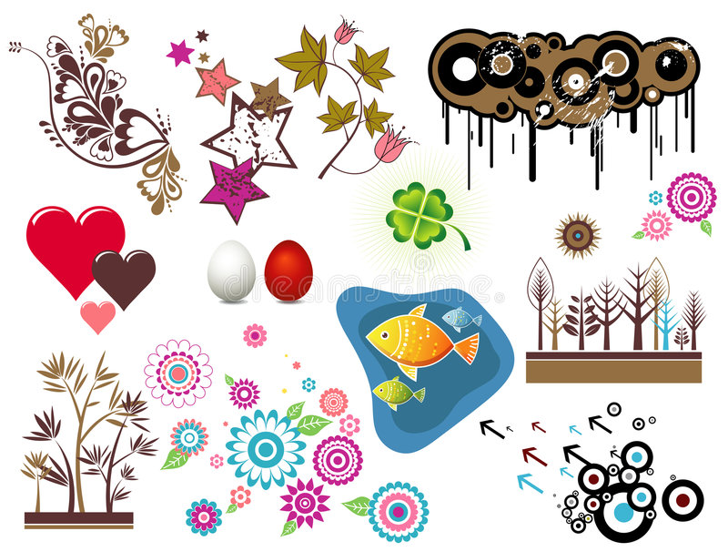 Design elements, vector. Design elements, circles,stars, hearts,egg, fish, clover, flowers, vector illustration