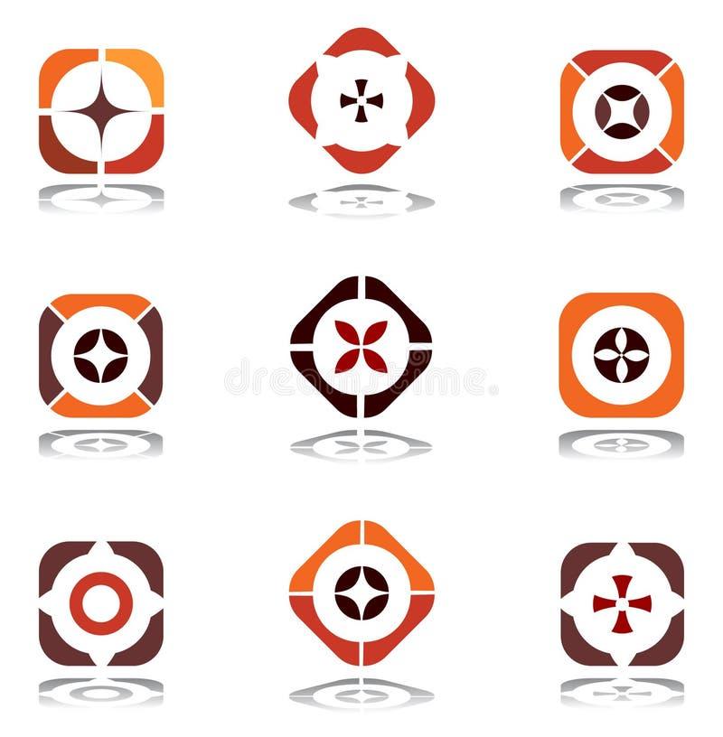 Design elements in warm colors. Set 6.
