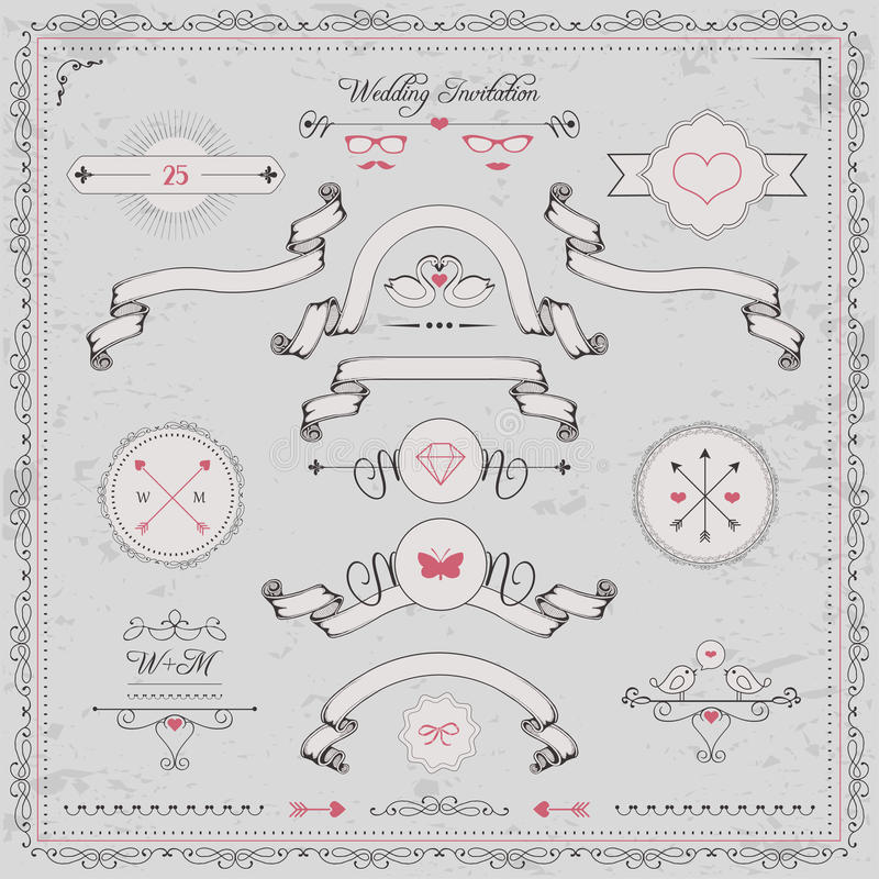 Design elements, wedding invitation,. Vector cute design elements, wedding invitation, vintage ribbons and frame