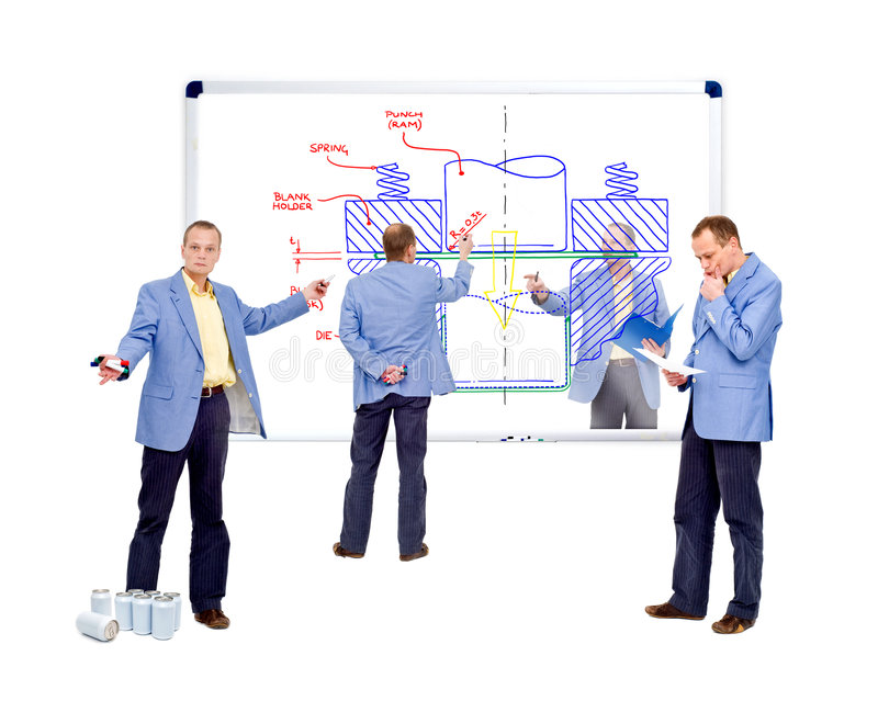 Design engineering. A team of design engineers working on the manufacturing process of a beverage can stock photo