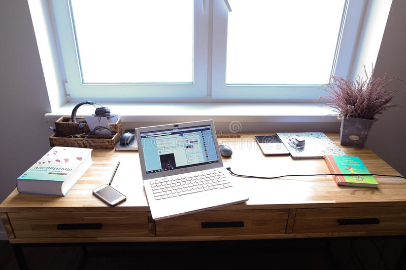 Design and equipped working area for working in spacious room wi stock photography