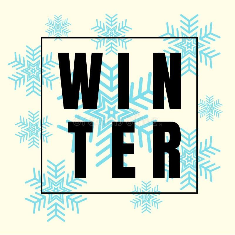 Design-etikett för vinterbildruta med snöflinga Winter-bakgrund Banderoll, symbol och utrymme för din text Ikon för vektorillustr royaltyfri illustrationer