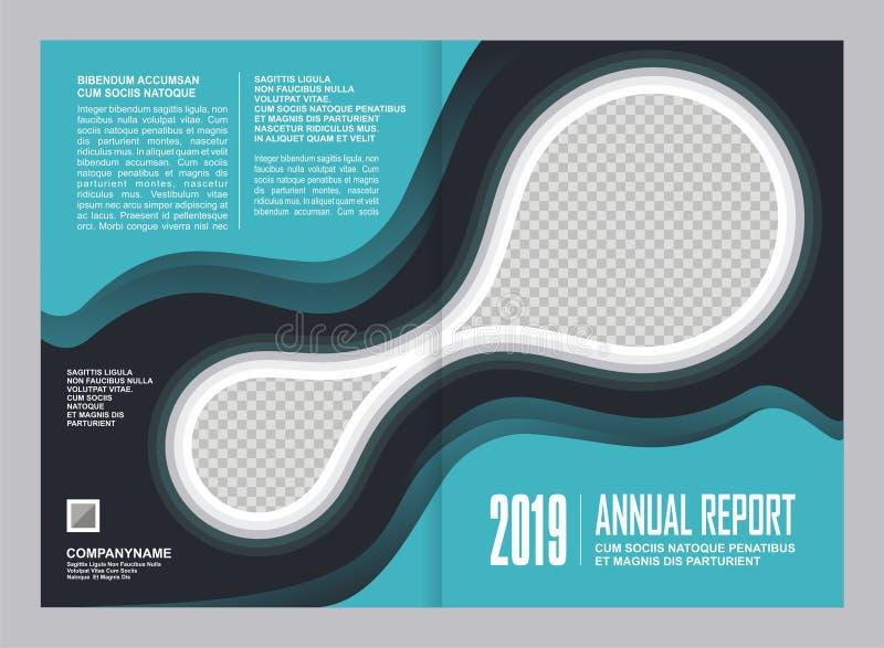 Design för årsrapporträkningsmall royaltyfri illustrationer