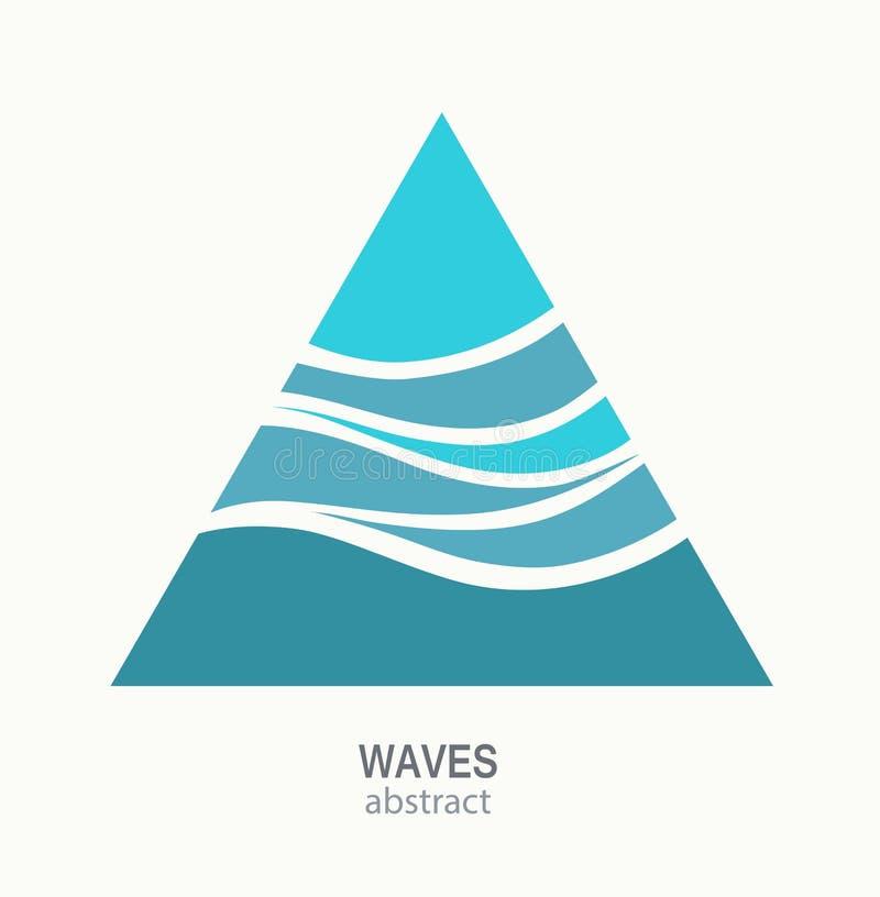 Design för abstrakt begrepp för logo för vattenvåg Triangelaquasymbol royaltyfri illustrationer