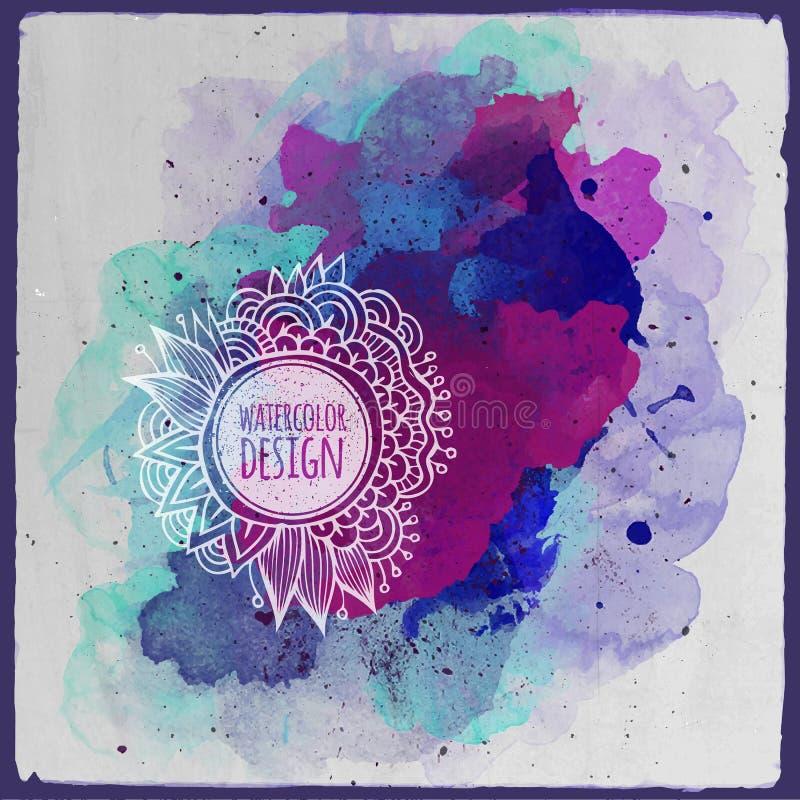 Design för abstrakt begrepp för vektorvattenfärgmålarfärg blom- royaltyfri illustrationer