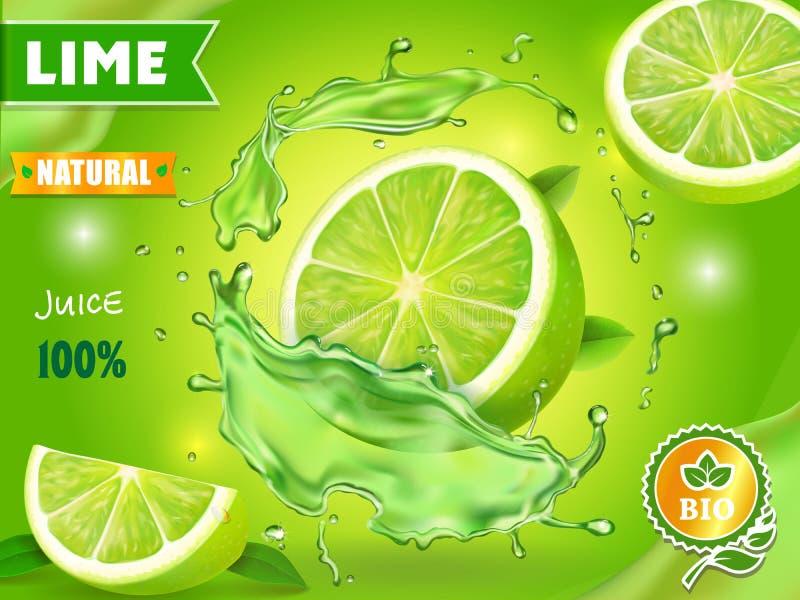 Design för advertizing för affisch för limefruktfruktsaft Vektormojitococtail eller citrusuppiggningsmedel royaltyfri illustrationer