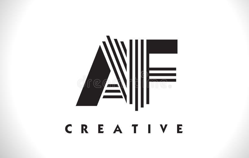Design för AF Logo Letter With Black Lines Linje bokstavsvektor Illus stock illustrationer
