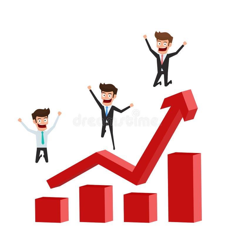 Design för affärsmanteckenlägenhet Lycklig och lyckad affärsmanbanhoppning på att lyfta grafen som firar deras framgång royaltyfri illustrationer
