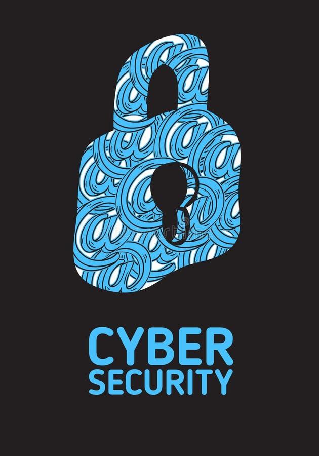 Design för affisch för Cybersäkerhetssäkerhet begreppsmässig vektor illustrationer