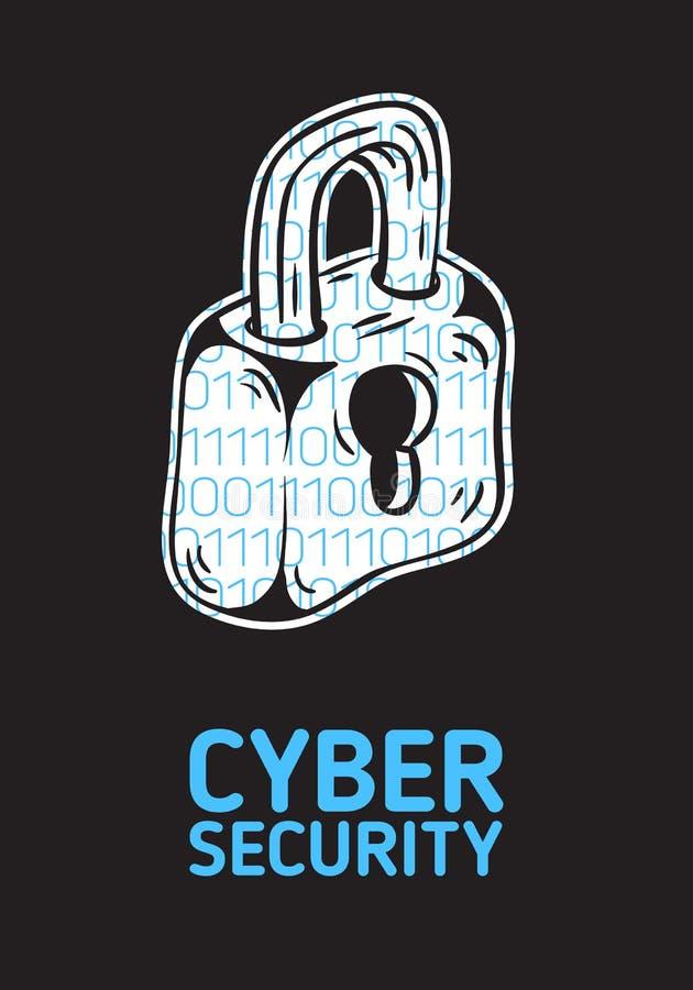 Design för affisch för Cybersäkerhetssäkerhet begreppsmässig med en kontur av ett lås och en binär kod Within Konstnärlig tecknad vektor illustrationer