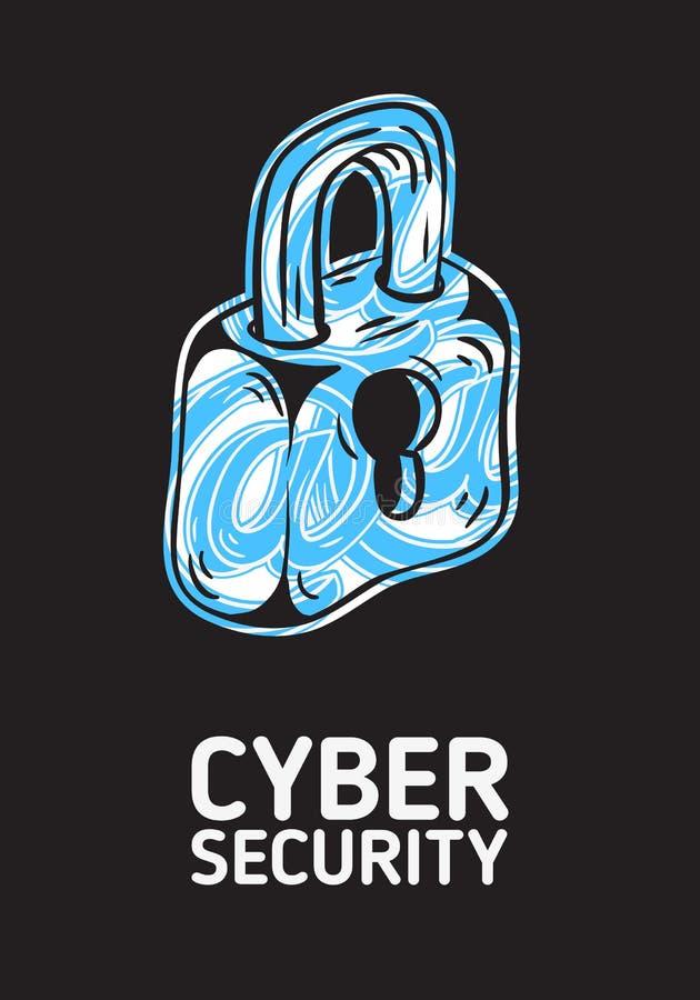 Design för affisch för Cybersäkerhetssäkerhet begreppsmässig med en kontur av ett lås och på symboler Within Konstnärlig tecknad  vektor illustrationer