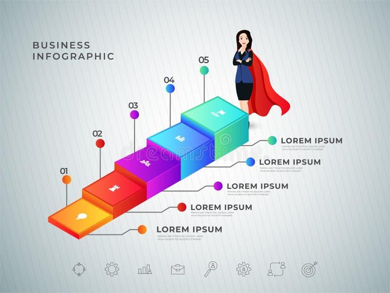 Design för affisch eller för mall för begrepp för moment för framgång 3D för affärskvinna vektor illustrationer