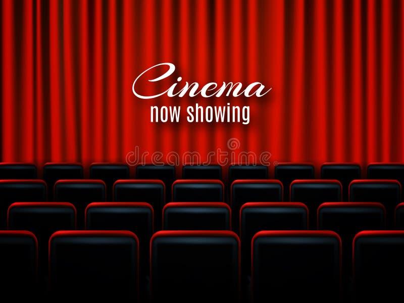 Design för affisch för filmbiopremiär med röda gardiner i lager vektor för baner eps10 mapp royaltyfri illustrationer