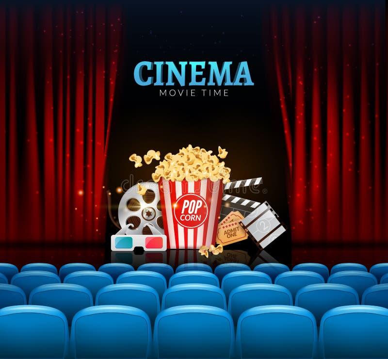 Design för affisch för filmbiopremiär Vektormallbaner för show med gardiner, platser, popcorn, biljetter royaltyfri illustrationer