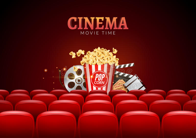 Design för affisch för filmbiopremiär Vektormallbaner för showen med platser, popcorn, biljetter vektor illustrationer