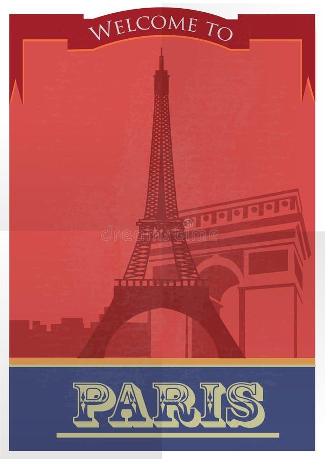 Design för affisch för gammal stil för Paris stad vektor royaltyfri illustrationer