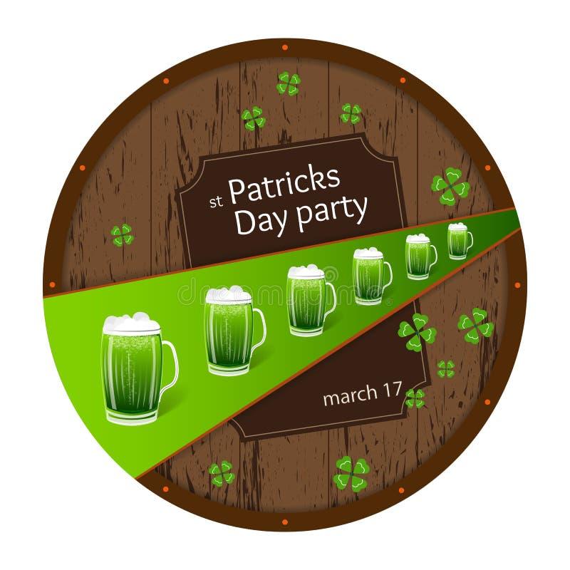Design för affisch för inbjudan för parti för öl för dag för St Patrick ` s vektor illustrationer