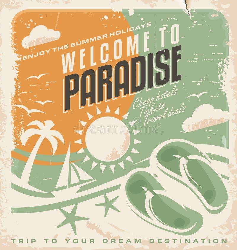 Design för affisch för sommarferie retro royaltyfri illustrationer