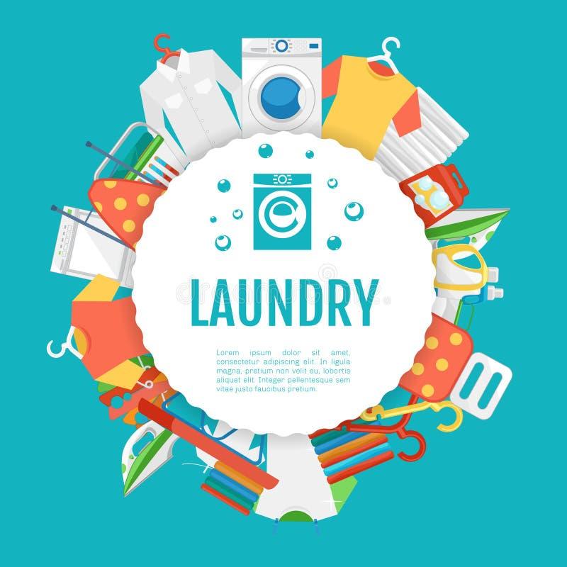 Design för affisch för tvätteriservice Symbolscirkeletikett med text stock illustrationer